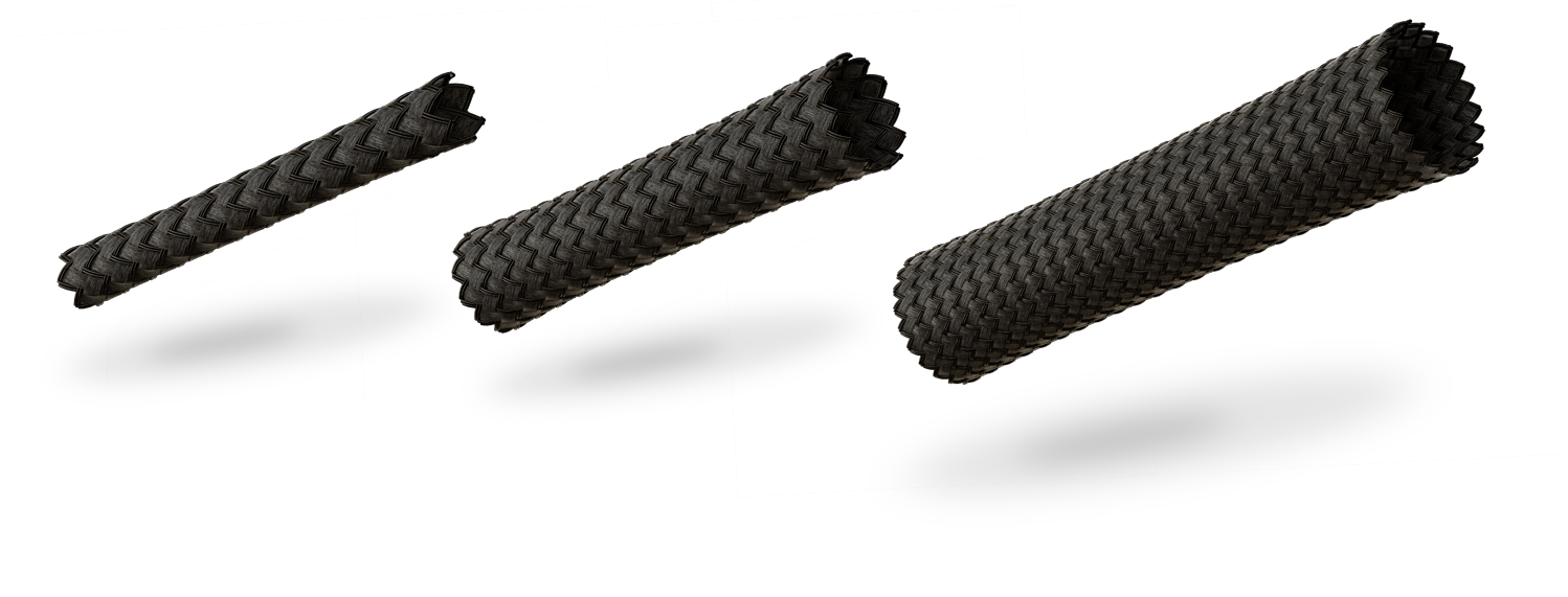 VIABLUE™ braided cable sleeve Black in 3 sizes